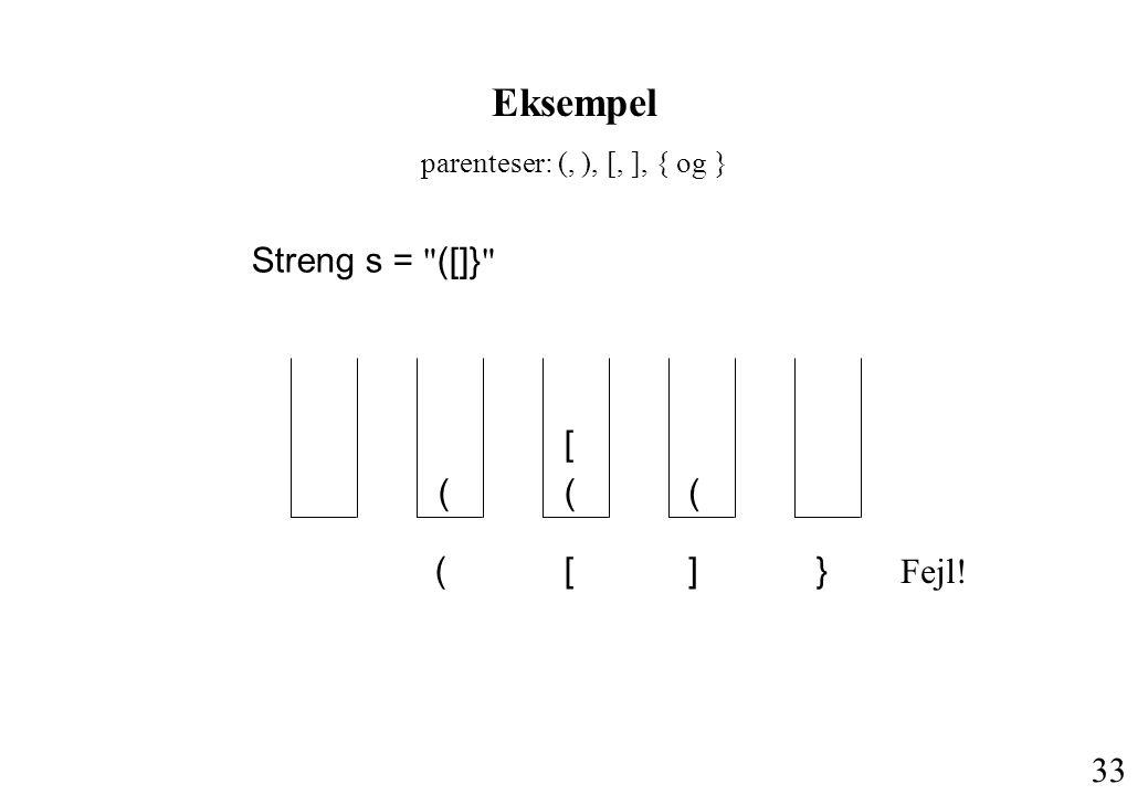 Eksempel Streng s = ([]} ( [ ( ( ] } Fejl!